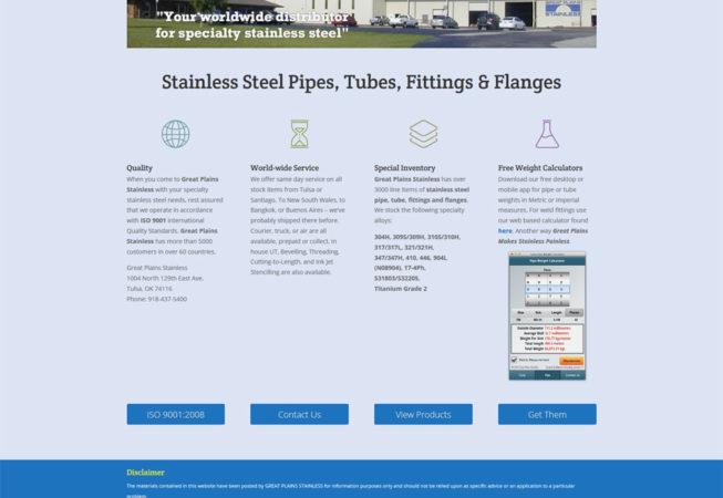 Page d'accueil du site internet Great Plains Stainless