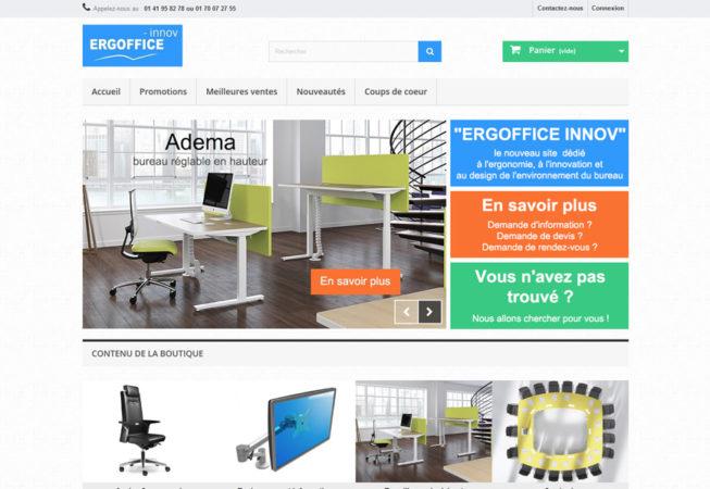 Page d'accueil de la boutique en ligne Ergoffice-innov