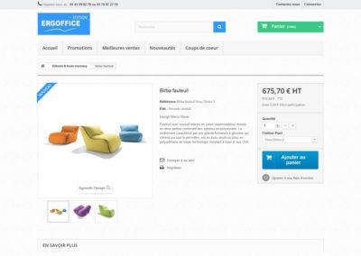 Une page produit de la boutique en ligne Ergoffice-innov