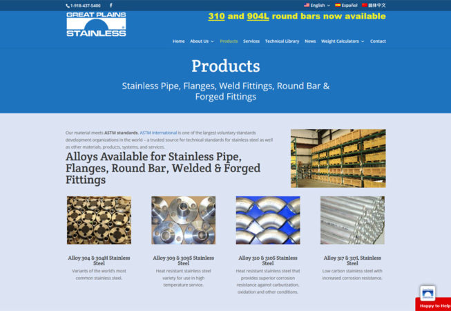 Great Plains Stainless - produits