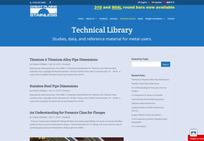 Great Plains Stainless - librairie technique