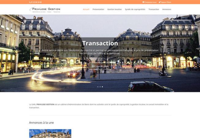 Privilège Gestion - page d'accueil