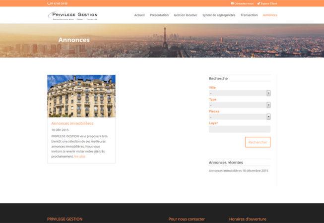 Privilège Gestion : page des annonces immobilières