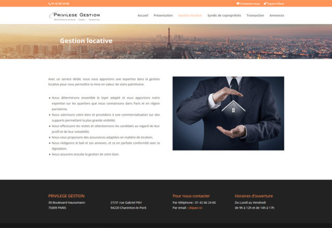Privilège Gestion : page  gestion locative