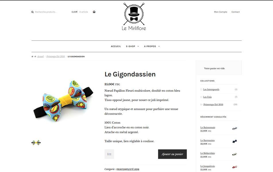 Le Mirliflore : page produit