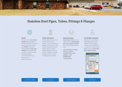Great Plains Stainless - page d'accueil du site Internet