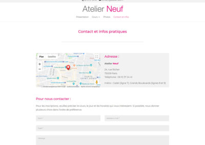 Atelier Neuf - page contact